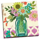 Mason Jar Flowers Violet by Jennifer Brinley Graphic Art on Wrapped Canvas