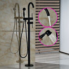 Oil Rubbed Bronze Floor Mounted Shower Faucet Tub Filler Free Standing Mixer Tap
