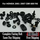 Complete Black Fairing Bolt Kit Body Screws for Honda CBR 600 F4i 2004 2007