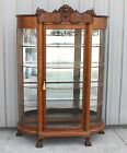 1900 10 LG TRIPPLE CARVED LION HEAD CLAWFOOT CURVE GLASS CHINA DISPLAY CABINET