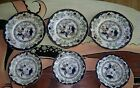 6 antique china plates POONAH Hand Decorated  George F Bowers  1 stapled plate