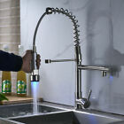 LED Lights Brushed Nickel Swivel Modern Kitchen Sink Mixer Faucet Pull Out Spray