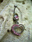 Belly Navel Ring 14g 316L BR4 Multi Pink CZ Open Heart Dangle Charm