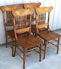 1900 10 4 SOLID OAK PRESS BACK SADDLE CUT OUT SEAT DINING ROOM CHAIRS
