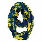 Womens NCAA UNIVERSITY OF MICHIGAN WOLVERINES BLUE SHEER INFINITY SCARF jewelry