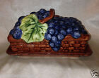 BLOCK GEAR 1995 COUNTRY ORCHARD 1/4 LB COVERED BUTTER DISH HAND PAINTED GRAPES
