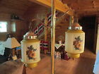 Vintage Mid-Century Tension Pole Lamp/Light with 2 Glass Flower Hanging Globes