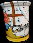 Kitty Cat Hand Painted Vase Container Reading China Portugal Ceramic