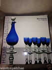 HOME ESSENTIALS CRYSTAL GLASS BLUE EMPRESS CORDIAL SET DECANTER 6 GLASSES IN BOX