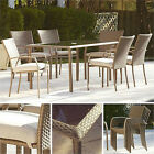7 Piece Wicker Dining Set Outdoor Patio Furniture Glass Table Chairs Garden Pool