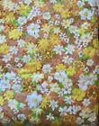 Vintage Quilted Bed Spread  White Orange Yellow Flowers Light Sears Twin New