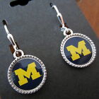 official University of Michigan Wolverines LOGO SILVER CHARM EARRINGS jewelry