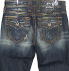 ROCK REVIVAL Mens Vintage Denim Jeans Straight Leg Fluer Flap Pocket Anthony