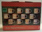 222 Fifth TWELVE DAYS OF CHRISTMAS 10oz Stoneware Mug Set 12Pc NIB Holiday 98122