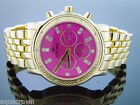Mens Icetime 40mm Round marquis 0.10ct Diamonds gold tone Watch M-O-P pink face