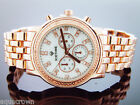Mens Icetime 40mm Round marquis 0.10ct Diamonds rose tone Watch M-O-P white face