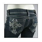 New Miss Me Womens Vintage Gothic Stitch Cross Jeans