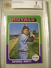 1975 Topps Mini George Brett KC Royals ROOKIE RC #228 BVG 7 Beckett 0009195282