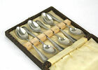 Antique Victorian Silver Plated Tea Coffee Spoons Set of 6 Cased c.1896