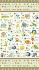 A is For Alligator Panel White Cotton Fabric by Northcott