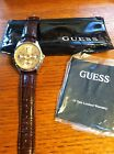 Men's Guess Watch Brown Leather Band, Goldtone Face Brand New