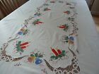 Vintage Hand Appliqued  Tape Lace Crocheted Christmas Tablecloth 98x62 1 2