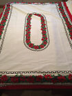 Beautiful Vintage Christmas Poinsettia Kitchen Tablecloth 59 1 2 x 84