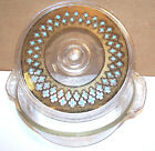 FIRE KING Glass 2 QT Casserole Dish LID Gold Spatter Turquoise India like design