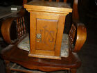 EARLY 1900S  SMALL OAK CABINET 10'X10'X 14'  CARVING ON FRONT DOOR BRASS LION