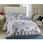 Rose Blossom Blue Full Queen Quilt Scalloped edges delicate flowers and fine sti