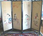 OLD JAPANESE HAND PAINTED SCREEN~4 PANELS~BEAUTIES~LACQUERED WOOD~55
