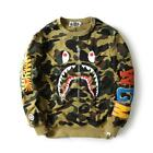 2016 Mens Bape Camo Shark Jaw Pattern A Bathing Ape Fake Zipper Design Sweater