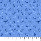 Porcelain Blues Tiny Flowers on Medium Blue by Northcott Cotton Fabric Floral