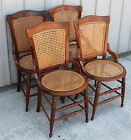 4 VICTORIAN WALNUT 1870 -80s CANE BACK AND BOTTOM HIP REST DINING ROOM CHAIRS