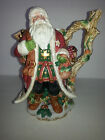 FITZ AND FLOYD CHRISTMAS LODGE SANTA PITCHER / WOODSY/WITH OWL