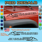 Jeep WRANGLER JK Unlimited Mountain Hood Decal Stickers 1 Pair SH 1137