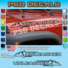 Jeep WRANGLER Unleashed Mountain Hood Decal Stickers 1 Pair SH 1143