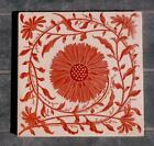 Mintons Arts  Crafts Aesthetic Sunflower Red  Cream Tile