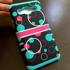 For Samsung Galaxy On5 G550 HARD&SOFT HYBRID COVER CASE BLACK PINK BLUE BUBBLES