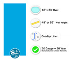 SmartLine 18 x 33 Oval Overlap Blue Above Ground Swimming Pool Liner 30 Gauge
