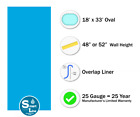 SmartLine 18 x 33 Oval Overlap Blue Above Ground Swimming Pool Liner 25 Gauge