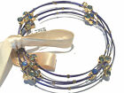 SEASONAL WHISPERS BLUE Wire Set of 6 Bangles Blue Swarovski Crystals Large