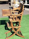 Antique Wood High Chair With Tray Converts To Child's Rocking Chair