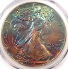 1987 Toned American Silver Eagle Dollar 1 ASE PCGS MS65 Rainbow Toning Coin