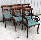 6 1940 - 50s DREXEL DUNCAN PHYFE EMPIRE STYLE BURL MAHOGANY DINING ROOM CHAIRS