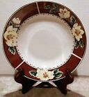 Gibson Magnolia Bloom Maroon and White Dinner Plates Set of  4