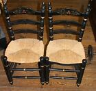 PAIR OF BOSTON CHILD'S LADDER BACK CHAIRS WITH CANE SEATS