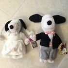 Peanuts Snoopy Bride and Groom Plush Stuffed Toy Wedding Set! NEW!!