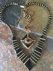 Stunning Vintage Art Deco Black Onyx Enamel Gold Necklace Lot Of 2 From France