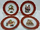 222 FIFTH CHRISTMAS FUN SET OF 4 APPETIZER PLATES Dessert Bread  NEW HOLIDAY